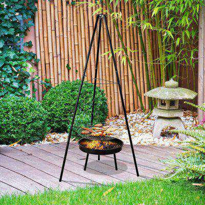 Outsunny Tripod Charcoal Barbecue Grill, size (70x70x165cm)- Black