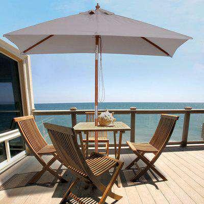 Outsunny Wooden Patio Umbrella Market Parasol Outdoor Sunshade 6 Ribs Grey