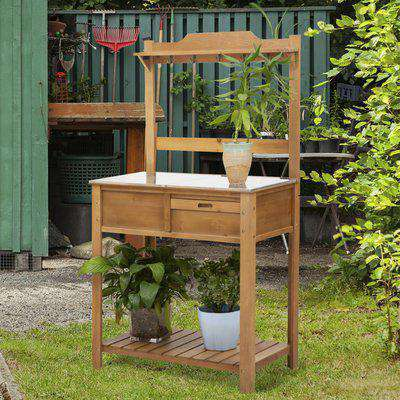 Outsunny Wooden Spacious Garden Potting Table with Large Storage Space Galvanized Metal Workstation Sink Shelves and Hooks Garden Work Bench