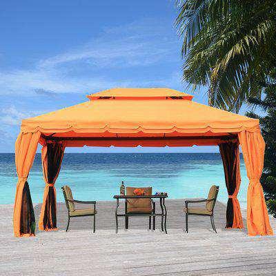 Outsunny 3m x 4m Aluminium Frame Polyester Draped 2-Tier Roof Gazebo Orange