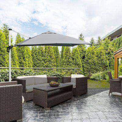 Outsunny 3 x 3(m) Cantilever Roma Parasol Garden Sun Umbrella Canopy Sun Shade Aluminium 360° Rotating & Cross Base, Light Grey Outdoor