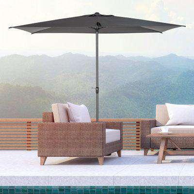 Outsunny 3 x 2m Garden Parasol Patio Sun Umbrella Canopy Rectangular Sun Shade Aluminium Crank Tilt Mechanism, Dark Grey