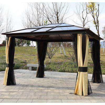 Outsunny 3.6m x 3m Outdoor Aluminium Alloy Gazebo w/ LED Solar Lights Beige