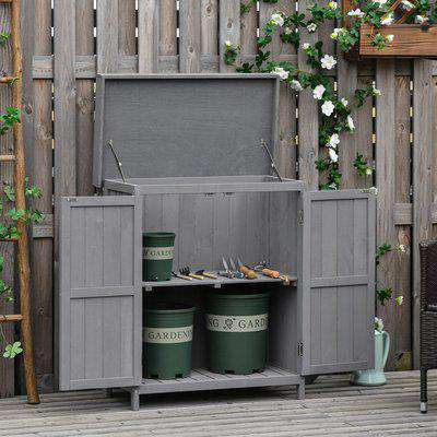 Outsunny 74 x 43 x 88cm Garden Shed Outdoor Garden Storage Shed Wooden Chest Double Doors with Shelf Hinged Roof Compact Size -Grey