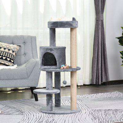 PawHut 3-Tier Deluxe Cat Activity Tree w/ Scratching Posts Ear Perch House Platform Play Ball Plush Fun Toys Exercise Rest Relax Climb Grey