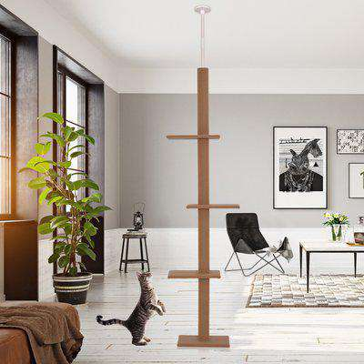 PawHut 4-level Platform Cat Tree with Covered Scratching Posts Natural Cat Tower Activity Center for Kittens Brown