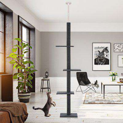 PawHut 4-level Platform Cat Tree with Covered Scratching Posts Natural Cat Tree Activity Center for Kittens Cat Tower Furniture Grey