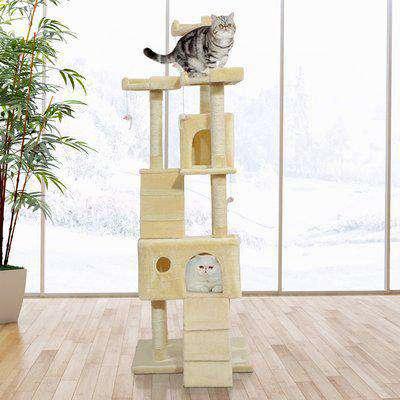 PawHut Cat Activity Centre Sisal Kitten Tree Scratch Scratcher Scratching Post Toy Climbing Tree Bed Multi Level 181cm(H)