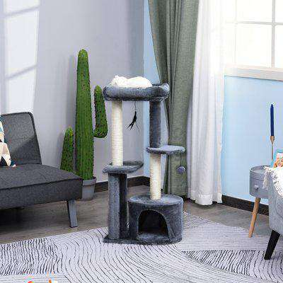 PawHut Cat Multi-Activity Tree Tower w/ Perch House Scratching Post Platform Play Ball Plush Covering Play Rest Relax Grey White