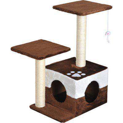 Pawhut Cat Tree Cat Scratcher Pet Condo Play House Activity Center Cat Furniture With Dangling Toy Scratching Post 70 cm Brown