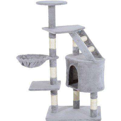 Pawhut 125cm Cat Tree Furniture Scratching Pet Tower Kitten Play Post Deluxe-Grey