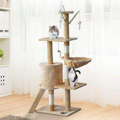 PawHut Cat Tree House, 131H cm-Beige