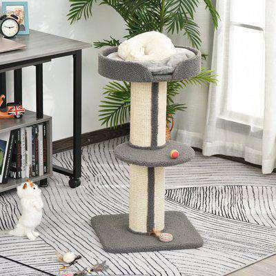PawHut 81cm Cat Tree Kitten Activity Center Tower Sisal Scratching Posts Lamb Cashmere Perches Grey