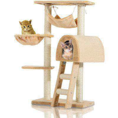 PawHut Cat Tree Kitten Activity Centre Scratch Scratching Scratcher Climber Post Rest Bed Toy 100cm