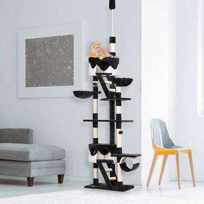 Pawhut Cat Tree Kitten Condo Fun House Adjustable Grey & White