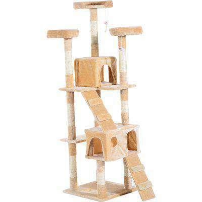 PawHut Cat Tree Kitten Kitty Scratching Scratcher Post Climbing Tower Activity Center House Cream