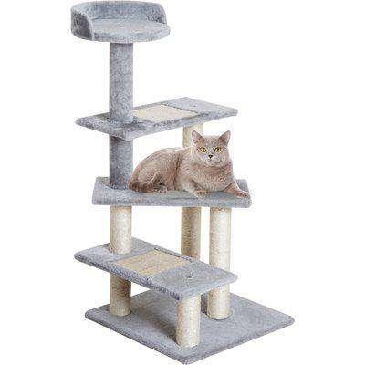 PawHut Cat Tree Kitten Scratch Scratching Scratcher Sisal Post Climbing Tower Activity Centre Grey