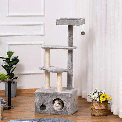 PawHut Cat Tree Kitten Tower 4-level Activity Centre Pet Furniture with Sisal Scratching Post Condo Plush Perches Hanging Ball Toys Grey