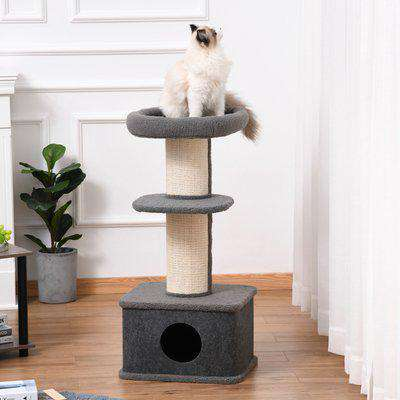 PawHut Cat Tree Kitten Tower Multi-level Activity Centre Pet Furniture with Sisal Scratching Post Condo Plush Perches Grey
