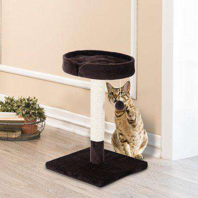 PawHut Cat Tree Scratching Post Furniture Pet Play Area Activity Center Kitten Climbers Climbing Exercise w/ Hanging Toy & Cushion-Brown