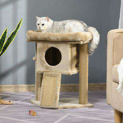 PawHut Cat tree Tower Climbing Activity Center Kitten Furniture with Jute Scratching Pad Ball Toy Condo Perch Bed Post 40 x 40 x 57cm Coffee