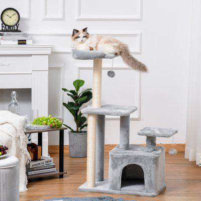PawHut Cat tree Tower 114cm Climbing Activity Centre Kitten with Sisal Scratching Post Perch Hanging Ball Condo Toy Light Grey