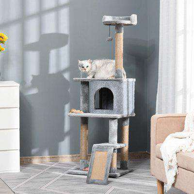 PawHut Cat Tree Tower 142cm Climbing Kitten Activity Center with Jute Scratching Post Board Perch Roomy Condo Removable Felt Hanging Toy, Grey