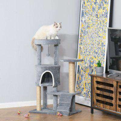 PawHut 100cm Cat Tree Tower Condo Multi Platform Kitty Cat Center with Climbing Ladder Scratching Post Hanging Toy Ball, Light Grey