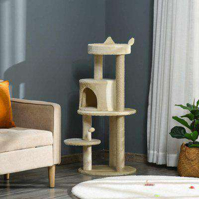 Pawhut Cat Tree Tower Scratching Post with Sisal Pet Activity Centre Beige 48 x 48 x 104cm