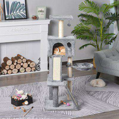 """PawHut 51"""" Cat Tree,Activity Tower with Condo Scratching Posts Ladders and Two Toys for Kitty Pet Climbing Relaxing and Playing"""