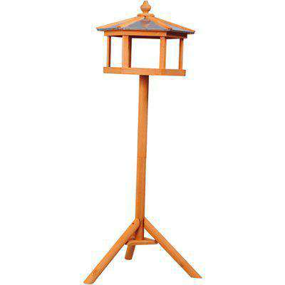 PawHut Deluxe Bird Stand Feeder Table Feeding Station Wooden Garden Wood Coop Parrot Stand 113cm High New