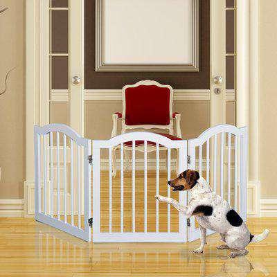 Pawhut Dog Gate Indoor Pet Fence Wooden Pet Gate Dog Safety Gate Dog Barrier For House-White