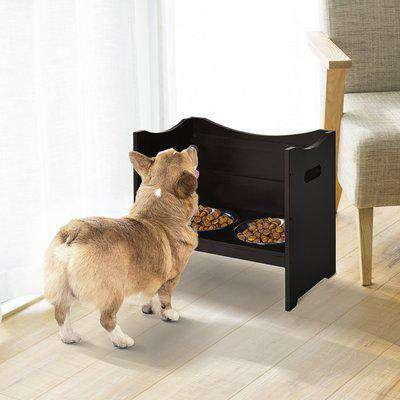PawHut Elevated Duo Pet Feeder w/ 2 Stainless Steel Bowls MDF Frame Adjustable Shelf Handles Raised Dog Cat Food Drink 47x54cm Brown