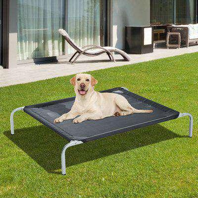 PawHut Elevated Pet Bed Portable Camping Raised Dog Bed w/ Metal Frame Black (Medium)