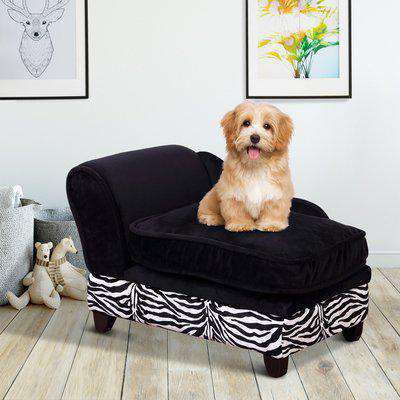 PawHut Fabric Pet Sofa, 57L x 34W x 36H cm-Black,Zebra-stripe