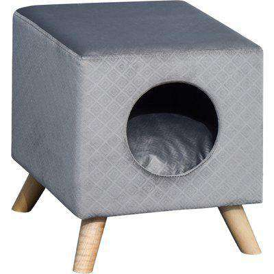 PawHut Flannel-Feel Elevated Cube Pet Sofa Hut w/ Wood Frame Legs Cushion Cat Dog Compact Home Platform Hutch Grey