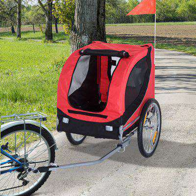 Pawhut Folding Bicycle Pet Trailer Dog Bike Jogger Travel Carrier W/Removable Cover-Red