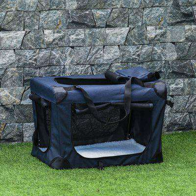 PawHut Folding Pet Carrier Bag Soft Portable Dog Cat Crate Puppy Kennel Cage House with Cushion Storage Bags Dark Blue