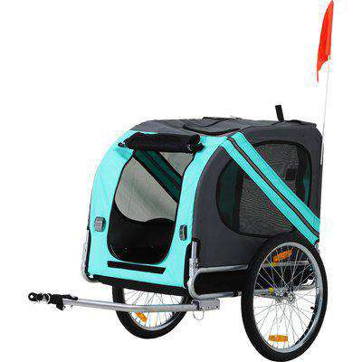 Pawhut Folding Pet Trailer Dog Carrier Bicycle Steel Frame Jogger Stroller with Suspension - Green & Grey