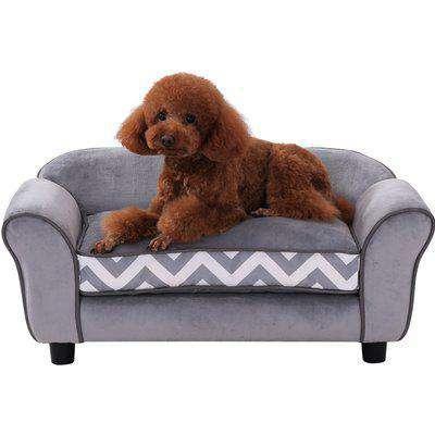 Pawhut 73.5Lx41Wx33H cm Pet Sofa-Grey/Black