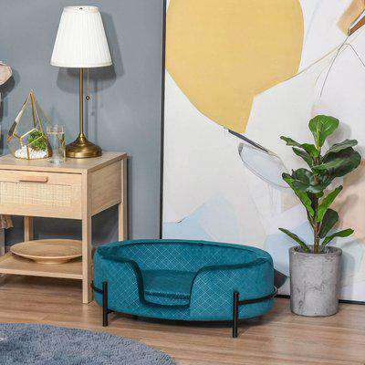 Pawhut Modern Pet Sofa Cat or Small Sized Dog Bed W/ Removable Seat Cushion, Teal 64L x 40W x 24H cm
