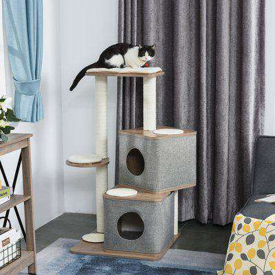 PawHut Multi-Level Cat Tree Tower Activity Center Climbing Frame Kitten House Furniture with Sisal Carpet Scratching Posts Condo Perch Cushion