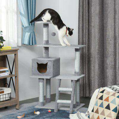 PawHut Multi-Level Cat Tree Tower Activity Center Climbing Frame Kitten House Furniture with Scratching Posts Ladder Dangling Ball Grey