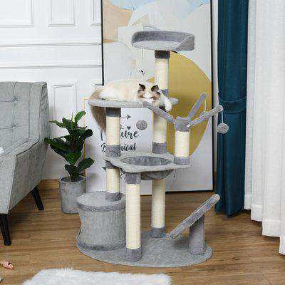 PawHut 1.22m Multi Level Cat Tree Tower Activity Center Kitten Furniture with Scratching Posts Hammock Perch Condo Dangling Ball Toys Grey