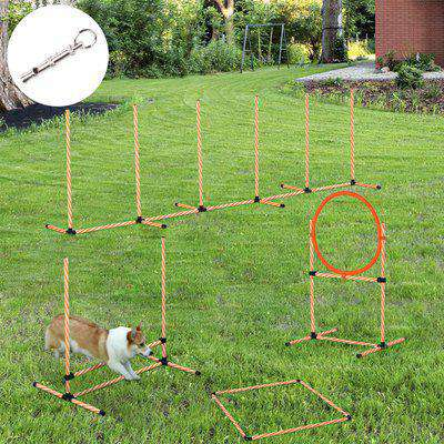 PawHut Pet Agility Training Equipment Dog Play Run Jump Hurdle Bar Obedience Training Set with Adjustable Height Jump Ring Square Pause Box Carry Bag