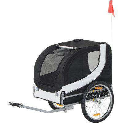 Pawhut Pet Bike Trailer-Black & White Folding Dog Bicycle Jogger Travel Carrier