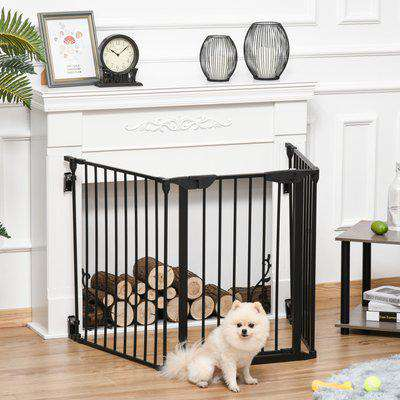 PawHut Pet Safety Gate 3-Panel Playpen Fireplace Christmas Tree Metal Fence Stair Barrier Room Divider with Walk Through Door Automatically Close Lock