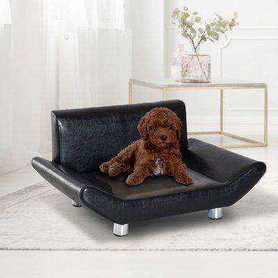PawHut Pet Sofa Couch Bed, PU Leather, Wooden Frame-Black