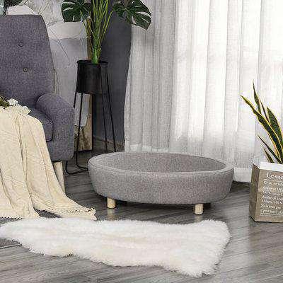 PawHut Pet Sofa Couch for Medium-Sized Dog Cushioned Bed Wooden legs, Light Grey 81cm x 61cm x 24cm