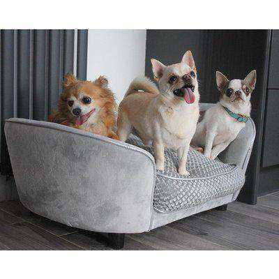 PawHut Pet Sofa Couch Small Sized Dog Various Cat Soft Plush Sponge Cushioned Bed Lounge Gray